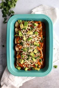 Delicious Vegan Butternut Squash Black Bean Enchiladas. With PUMPKIN enchilada sauce! Easy, healthy comfort food.
