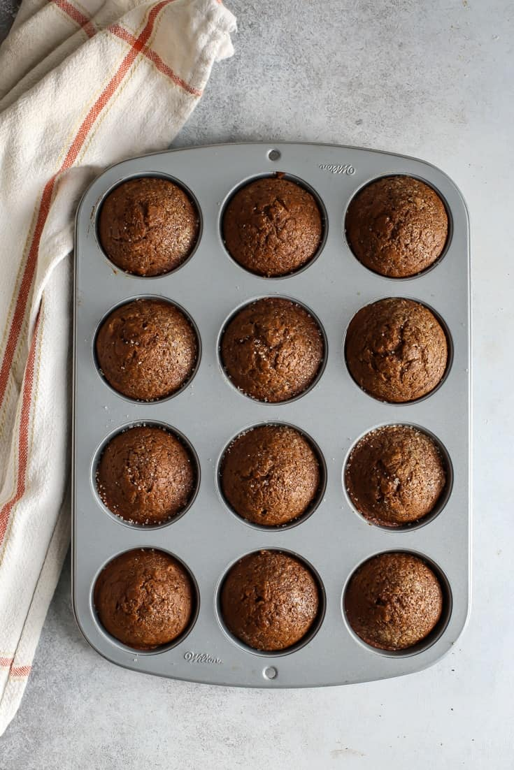 gingerbread muffins in pan