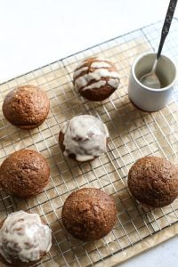 Healthy Gingerbread Muffins with Maple Coconut Butter Glaze