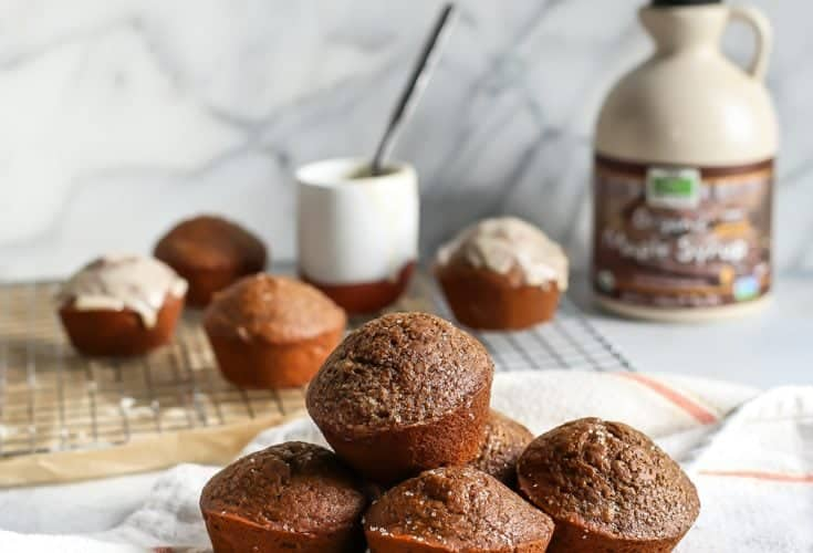 Healthy Gingerbread Muffins with Maple Coconut Butter Glaze [vegan]