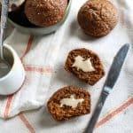 Healthy Whole Grain Vegan Gingerbread Muffins