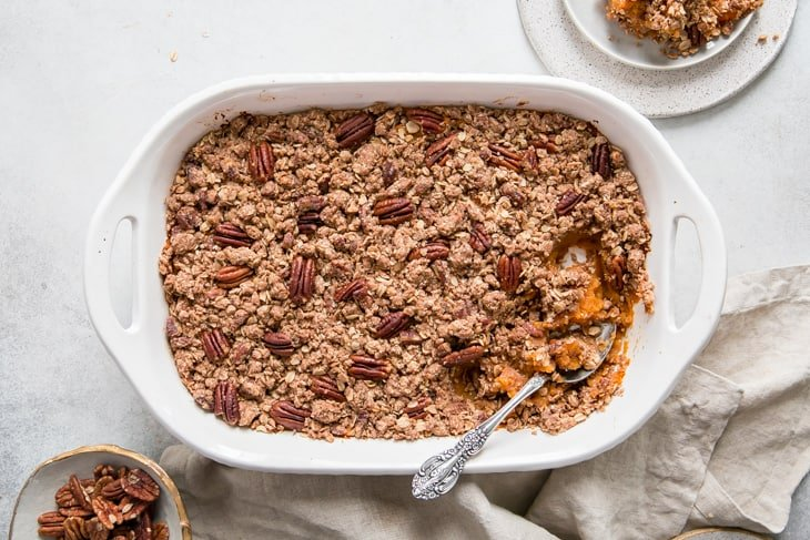 baked sweet potato casserole with pecans