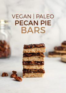 stack of four vegan paleo pecan pie bars with text overlay