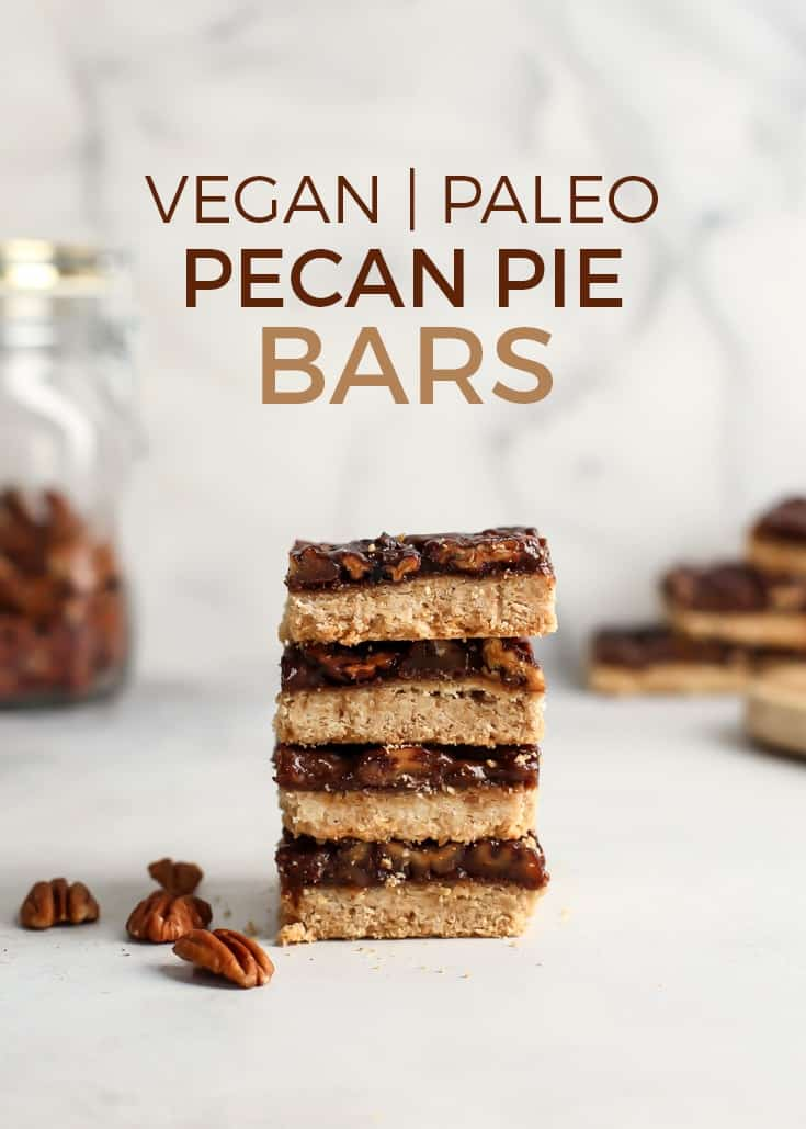 Vegan Paleo Pecan Pie Bars using Simple Mills Artisan Bread mix for the crust! Vegan, grain-free and naturally sweetened using maple syrup, coconut sugar and a hint of molasses. Pecan pie is a classic and these bars are perfect for holiday party trays too.