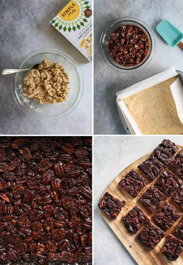 pecan pie bar filling, crust in baking dish, pecans on parchment paper, cut squares of pecan pie bars