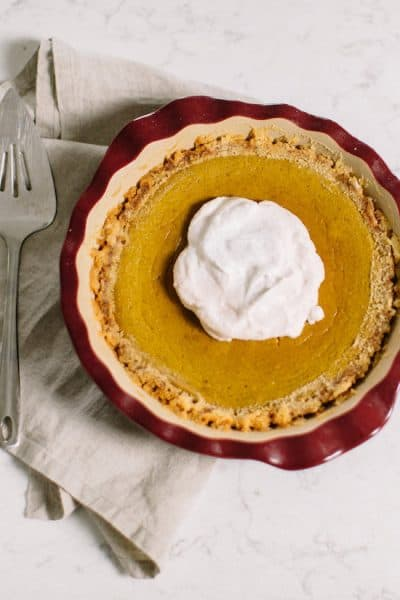 Paleo Pumpkin Pie with coconut whipped cream [guest post by Kara Swanson]