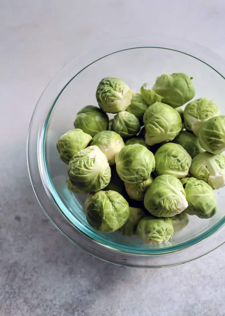 Brussels sprouts in clear bowl
