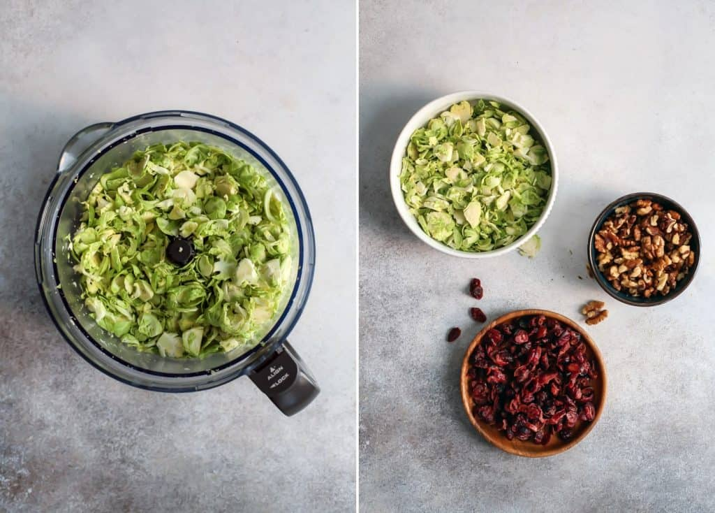 Brussels sprout salad ingredients in bowls with cranberries and walnuts