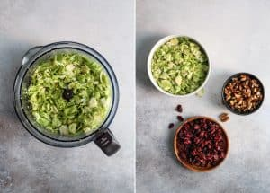 Shredded Brussels Sprouts Salad with cranberries and walnuts. Served with a simple dressing and parmesan cheese.