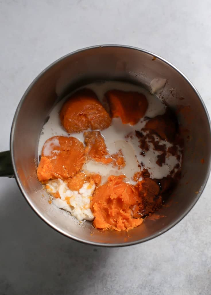 sweet potato casserole in large mixing bowl