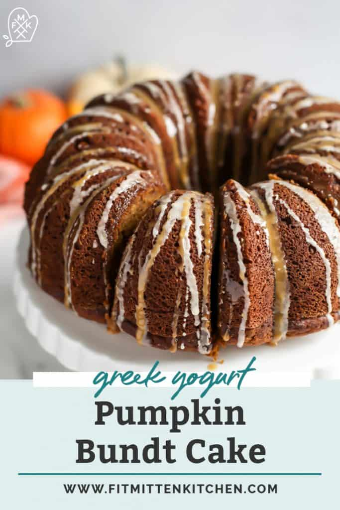 pumpkin bundt cake on white serving platter