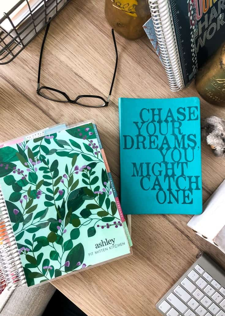 Erin Condren 2018 Planner, Dreams Notebook, eye glasses, notebooks