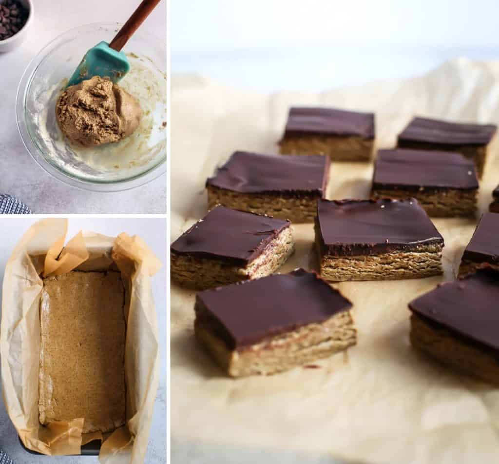 Chocolate Cashew Butter Bar dough in clear bowl and loaf pan, cut into squares