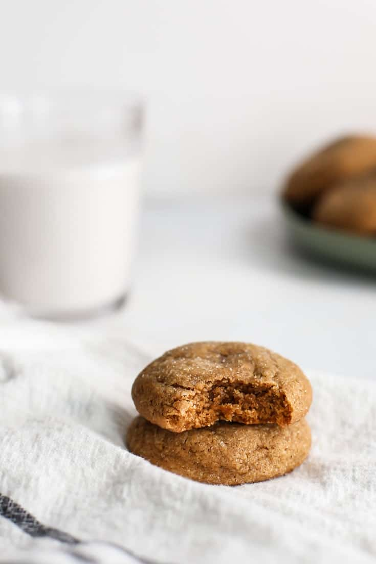 Pillow Soft Whole Wheat Gingerdoodles! A cross between a molasses cookie and a snickerdoodle – basically pure heaven. Made a touch healthier with whole wheat flour, part butter and part coconut oil.