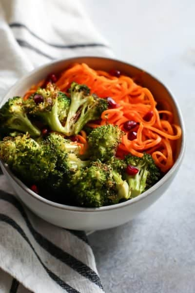 Vegan Buttery Garlic Roasted Broccoli with Sweet Potato Noodles