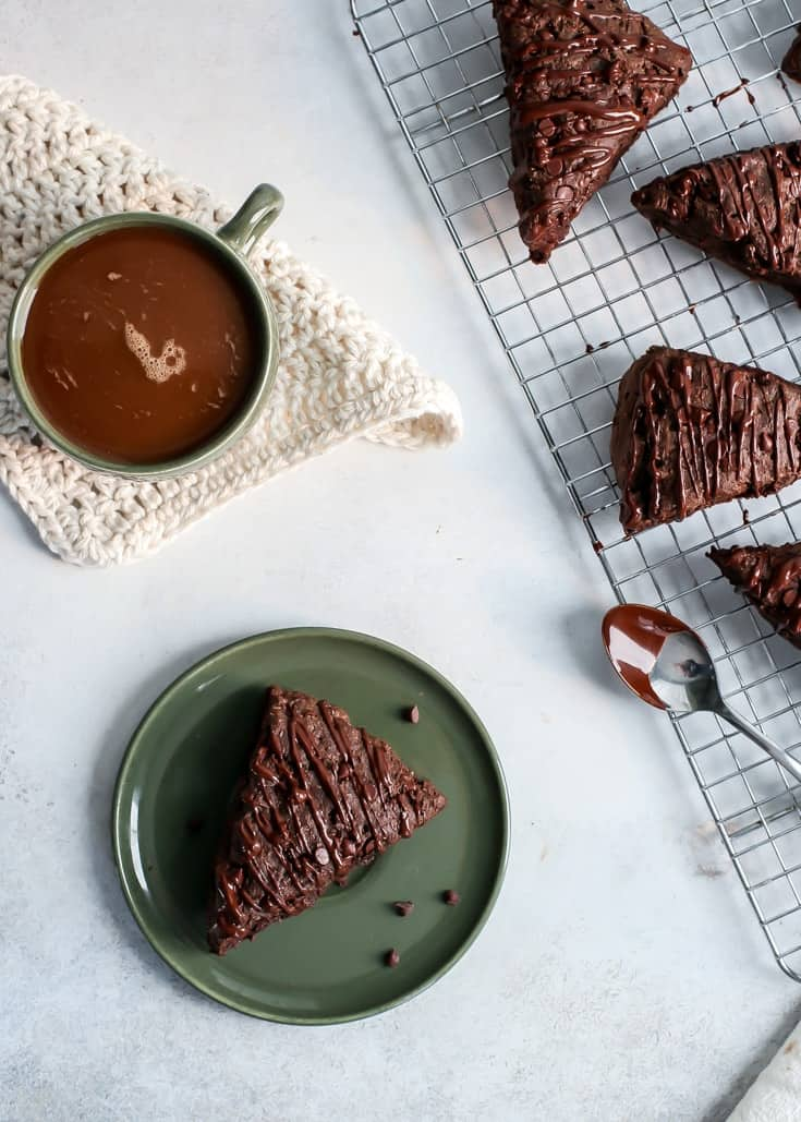 Whole Wheat Vegan TRIPLE CHOCOLATE SCONES