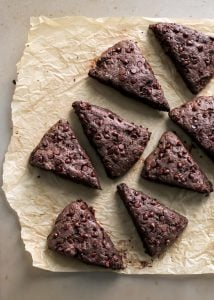 Whole Wheat Vegan TRIPLE CHOCOLATE SCONES. Made with coconut oil for a vegan-friendly version but you can also sub butter!