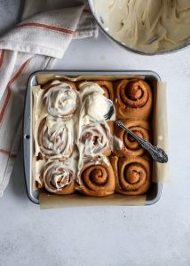 You can't go wrong with cream cheese frosting on these gingerbread cinnamon rolls. Just 1 rise - quicker than normal!