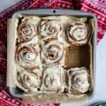 Whole Wheat Gingerbread Cinnamon Rolls with Greek Yogurt Cream Cheese Frosting