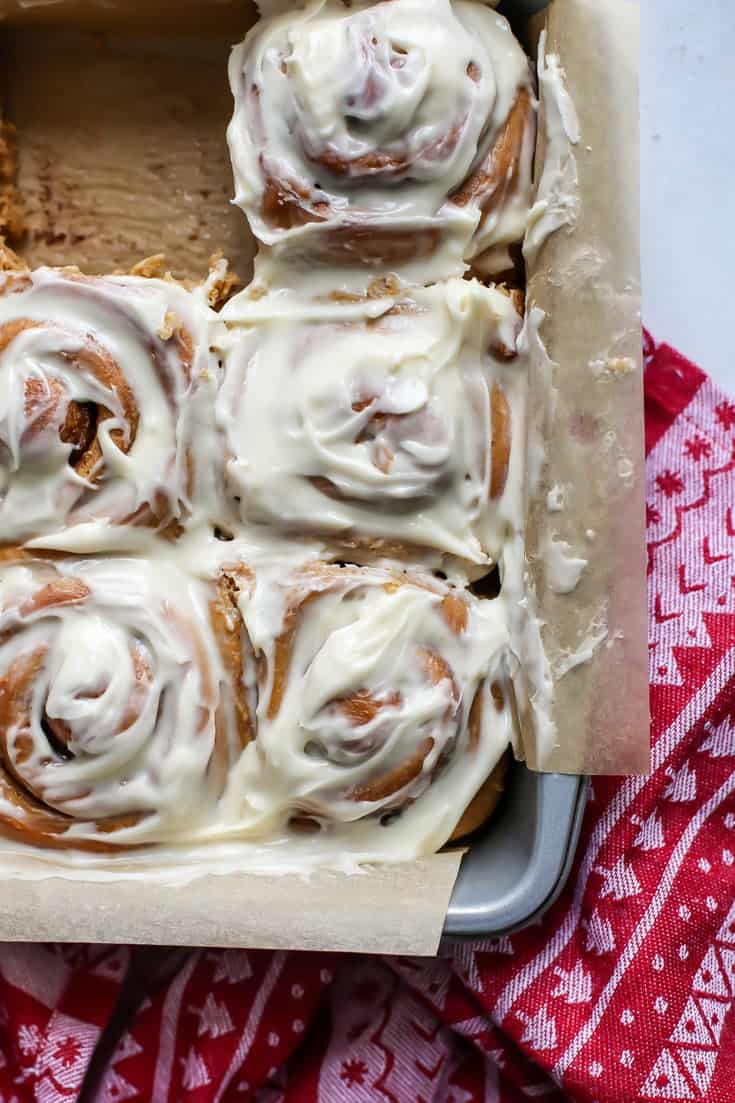 gingerbread cinnamon rolls in baking pan