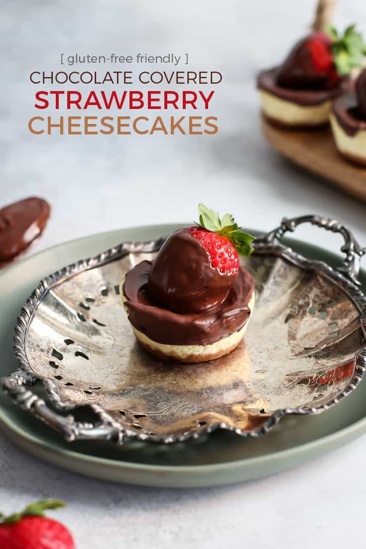 Individual Chocolate Covered Strawberry Cheesecakes on silver plate pinterest image