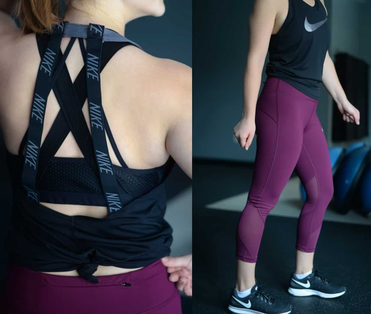 Nike strappy tank with magenta crops