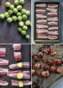 brussels sprouts, bacon and baked bacon wrapped brussels sprouts on baking sheet.