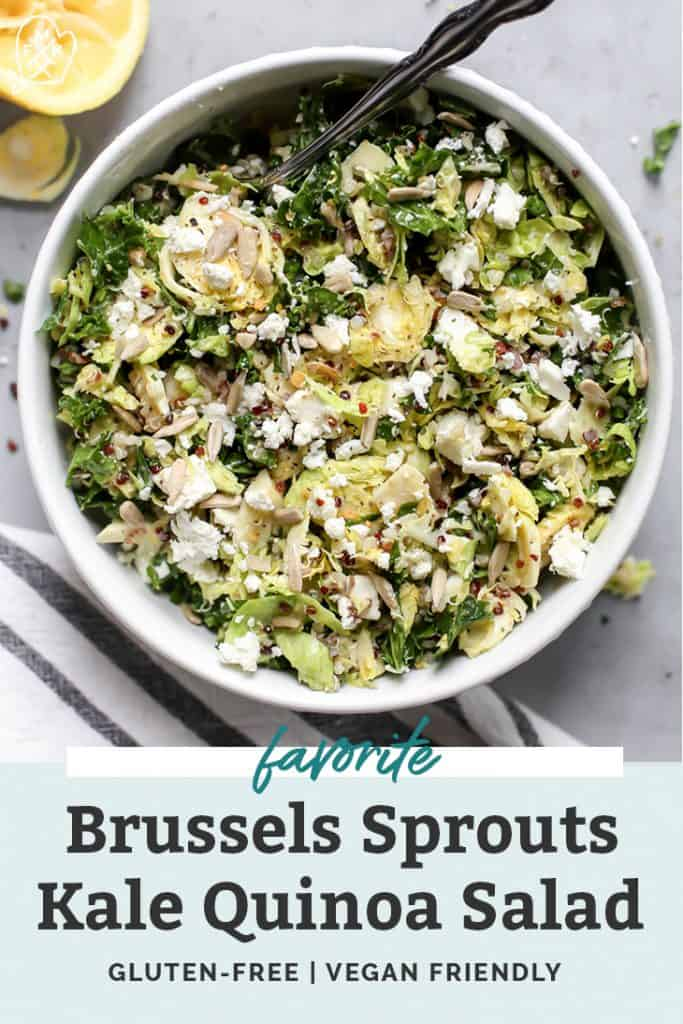 Shredded brussels sprouts kale quinoa salad in white bowl