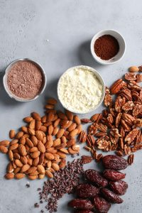 almonds, pecans, Medjool dates, instant coffee, cacao powder, egg white protein powder, cacao nibs