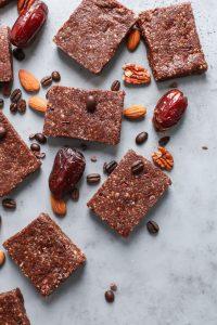 medjool dates, almonds, coffee beans, pecans, coffee protein bars