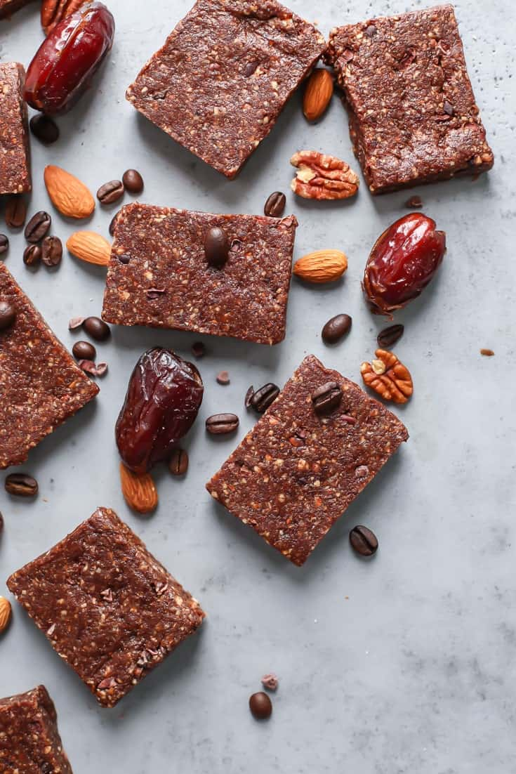 medjool dates, almonds, coffee beans, pecans, protein bars