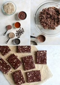 ingredients, mixing bowl and chocolate almond butter protein oat bars cut into squares