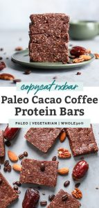 two photos of coffee protein bars stacked on saucer and cut up on counter