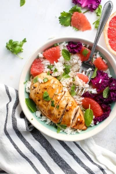 Honey Grapefruit Glazed Chicken with Coconut Rice [gluten-free]