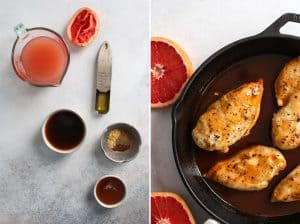 grapefruit juice, honey, apple cider vinegar, coconut aminos, spices and cooked chicken breast in a skillet