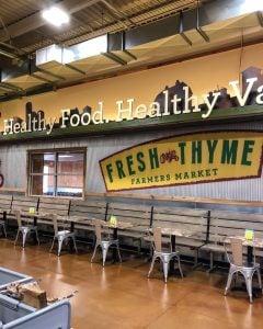 Front of Fresh Thyme Farmers Market in East Lansing, MI