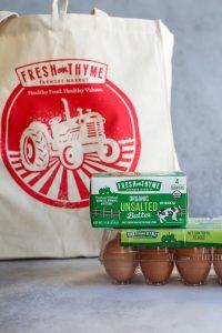 Fresh Thyme Farmers Market canvas bag, organic unsalted butter, organic eggs