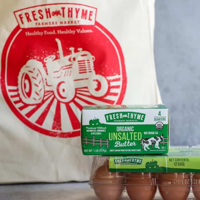 Fresh Thyme Farmers Market canvas bag, organic unsalted butter, organic eggs