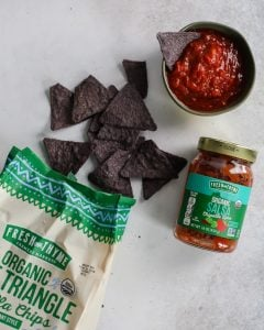 Organic Blue Corn Tortilla Chips and Chipotle Lime Salsa from Fresh Thyme Farmers Markets