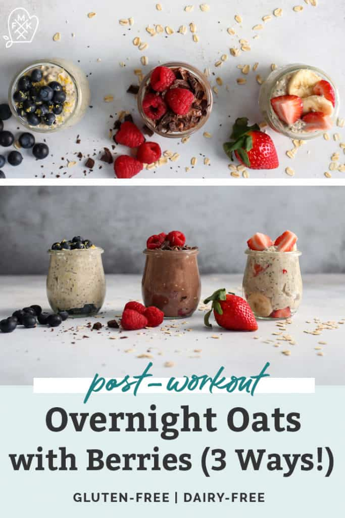 three flavors of overnight oats; strawberry banana, chocolate raspberry, blueberry lemon