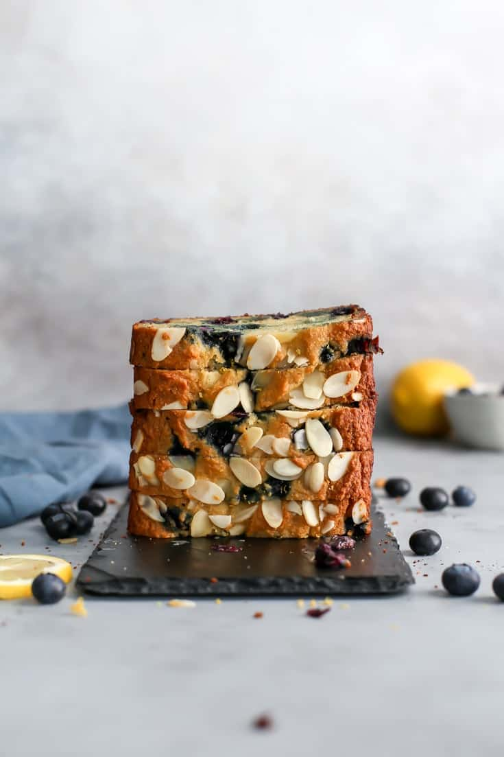 stacked paleo blueberry banana bread with almonds
