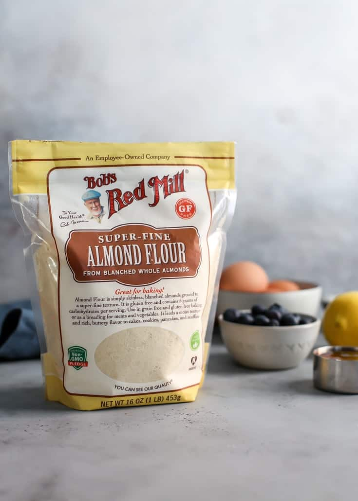 Bag of Bob's Red Mill Almond Flour with baking ingredients for lemon blueberry bread