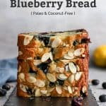 paleo almond lemon blueberry bread stacked