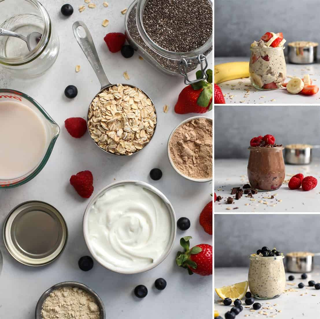 ingredients for overnight oats with berries three ways.