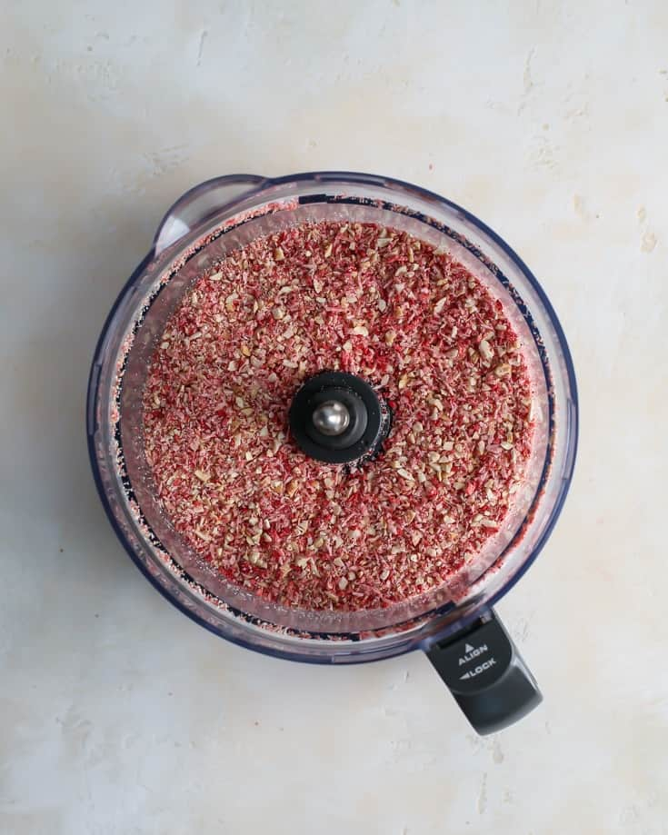 coconut, cashew and strawberries in a Food Processor to make strawberry coconut cashew butter