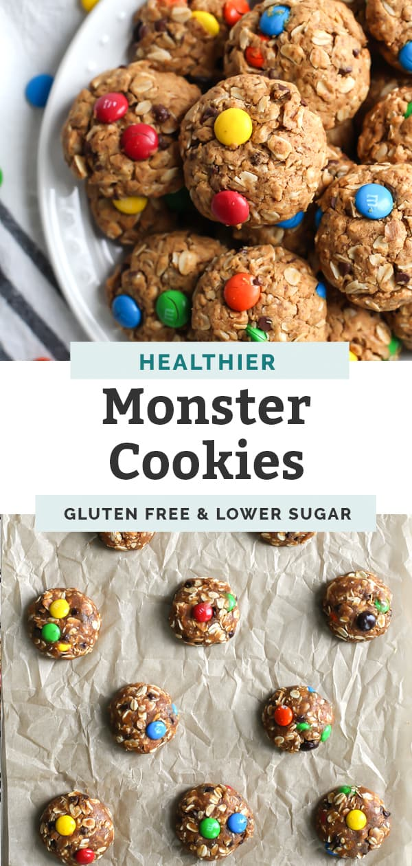 gluten free monster cookies on white plate and m&m cookies on parchment paper