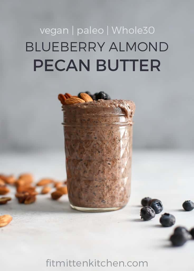 ball jar of blueberry almond pecan butter