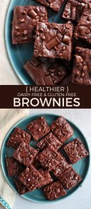 plate of brownies with chocolate chips and chocolate chunks