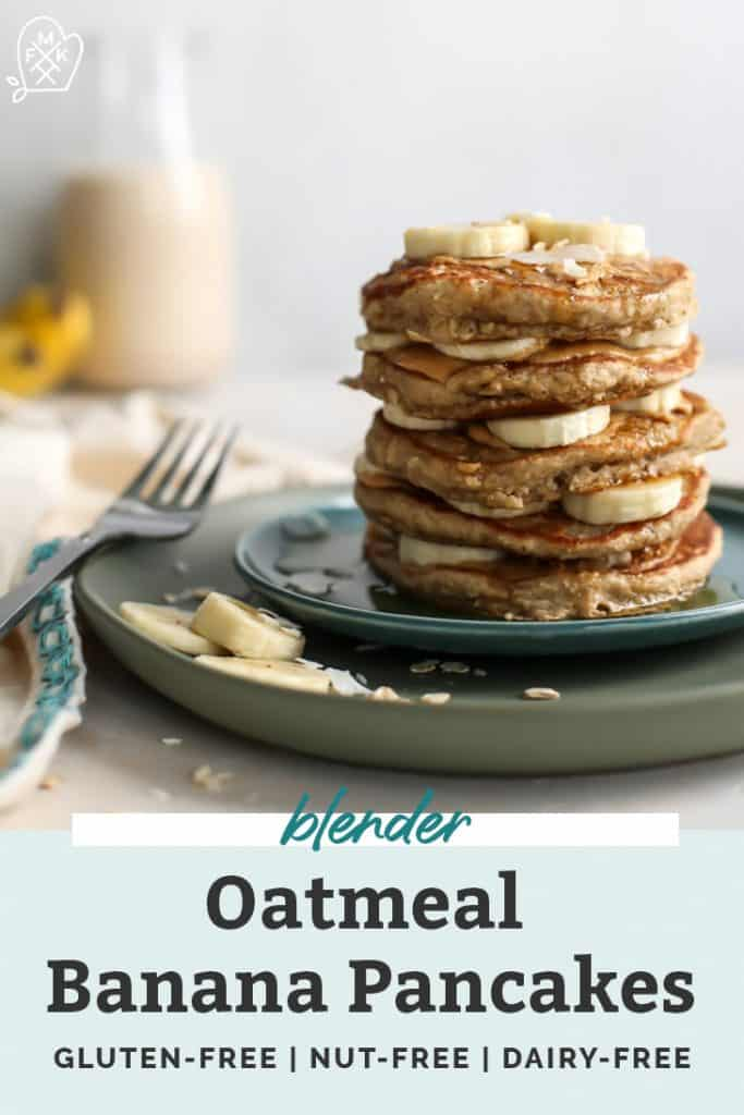 Stack of banana pancakes layered with peanut butter, bananas and topped with coconut on green plates