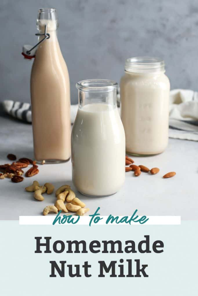 homemade nut milks in glass jars